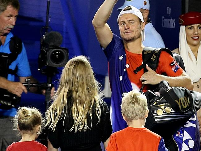 Lleyton Hewitt with his kids last night. Picture:Wayne Ludbey