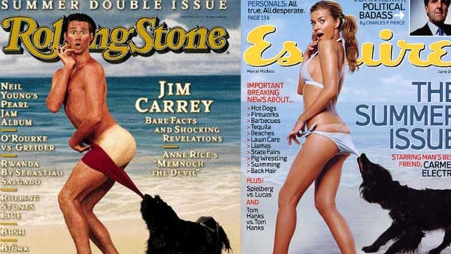 Past models... Jim Carrey and Carmen Electra have both posed for mock ups of the original Coppertone ad.
