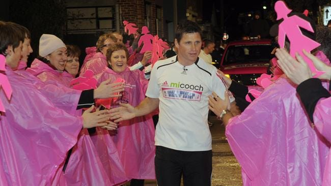 Shane Crawford runs into the Channel 9 studio, at the end of his  <i>That's What I'm Walkin' About</i> Charity Run for Breast Cancer. Walk.