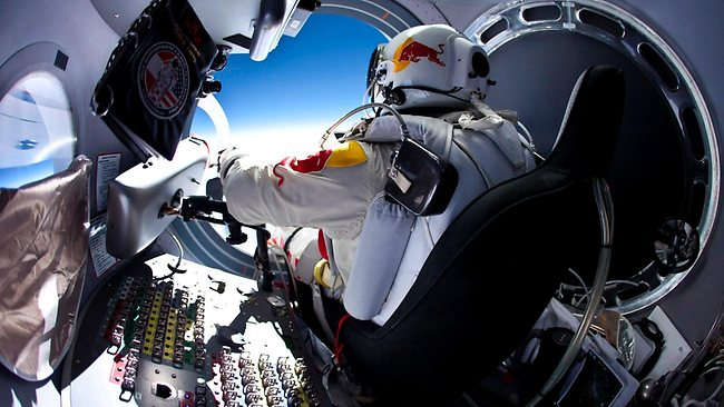 Red Bull Stratos Felix Baumgartner performs a test jump ahead of his attempt next week to leap and break the speed of sound in a freefall. Picture: Red Bull