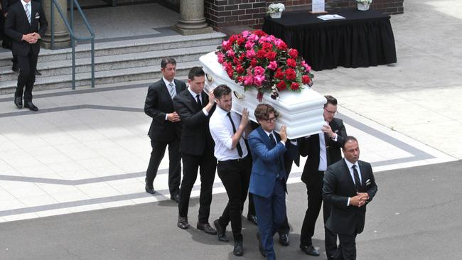 Mourners carry the coffin at the funeral for Jessica Falkholt. Picture: AAP Image/Ben Rushton
