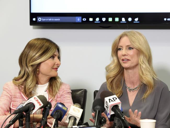 Former Fox News contributor Wendy Walsh, right, with her lawyer Lisa Bloom on April 3. (AP Photo/Anthony McCartney)