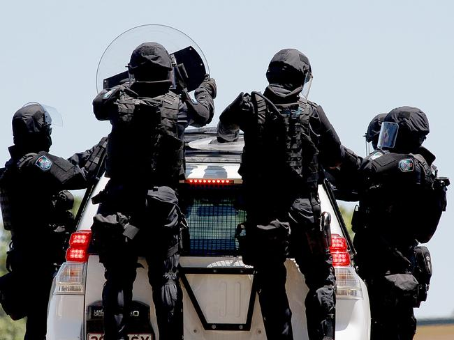 G20 Police exercise at the Oxley Police Academy in Brisbane. Picture: Marc Robertson