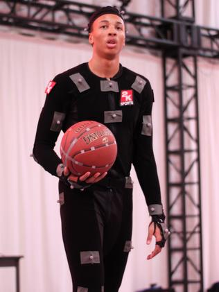 Dante Exum suited up in the motion capture studio making the NBA 2K15 video game.