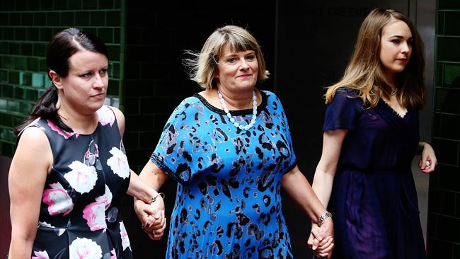 Sister Vicky arrives with Jo Thornely, left, and Charlotte's niece Emily Barclay.