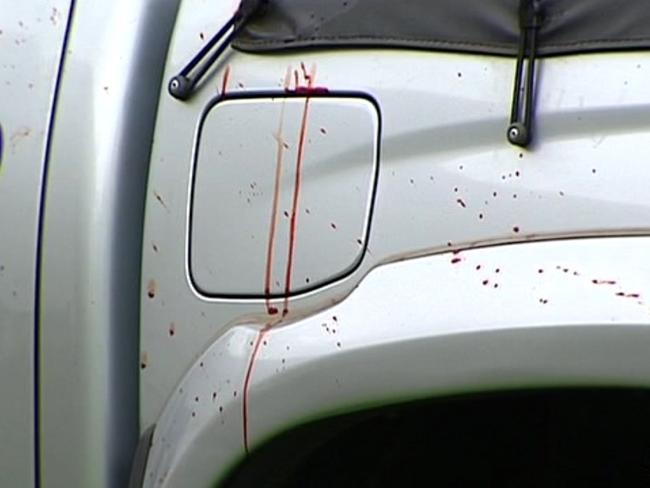 Blood splattered on the car owned by Atinae Afamiliona, 49 and his 45-year-old wife, Tiperia after the attack. Picture: 7 NEWS.