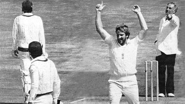 "Ian Botham removes Graeme Wood during the 1981 series known as ""B..."