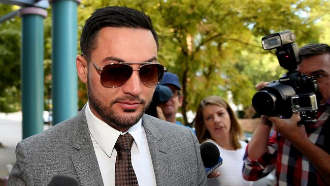 Salim Mehajer arrives at Burwood court. Picture: John Grainger