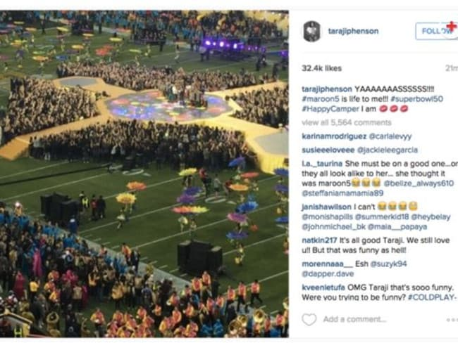 Funny blunder ... actress Taraji P Henson thought Coldplay was Maroon 5. Picture: Instagram