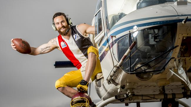 High flyer Heath Decker, 31, played two games of football, in two different codes, in Melbourne and Bendigo in one afternoon - and won both. Picture: Jason Edwards