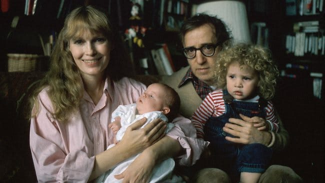 Actress Mia Farrow holding son Satchel with father, actor/director Woody Allen, who is holding Farrow's daughter Dylan. (Photo by David Mcgough/DMI/Time Life Pictures/Getty Images)