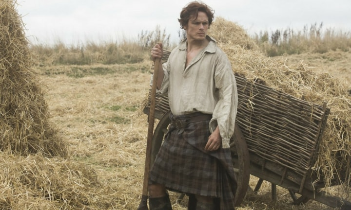 If you haven't seen an episode of Outlander (aka mummy porn) yet, there's only one thing you need to know. Sam Heughan, aka Scottish Adonis, plays Jamie Fraser in the time travelling historical drama. And he makes shovelling hay look very, VERY, good.