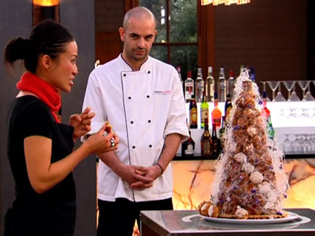 MasterChef contestant Poh Ling Yeow admires Zumbo's croquembouche tower during season one.
