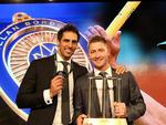 SYDNEY, AUSTRALIA - JANUARY 20: Mitchell Johnson poses with Michael Clarke after winning the Allan Border Medal during the 2014 Allan Border Medal at Doltone House on January 20, 2014 in Sydney, Australia. Photo: Getty Images