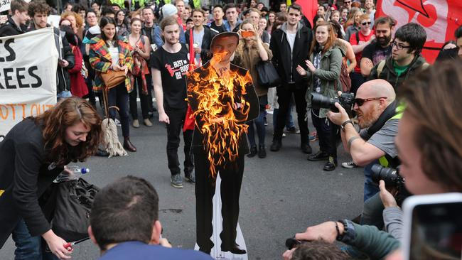 Sydney university students also burnt an effigy of the minister. Picture: Rohan Kelly