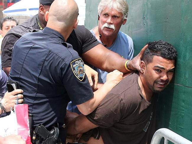 Richard Rojas, the driver who mowed down pedestrians in Times Square, pictured immediately after the incident. Picture: Charles Guerin/Bestimage/Diimex