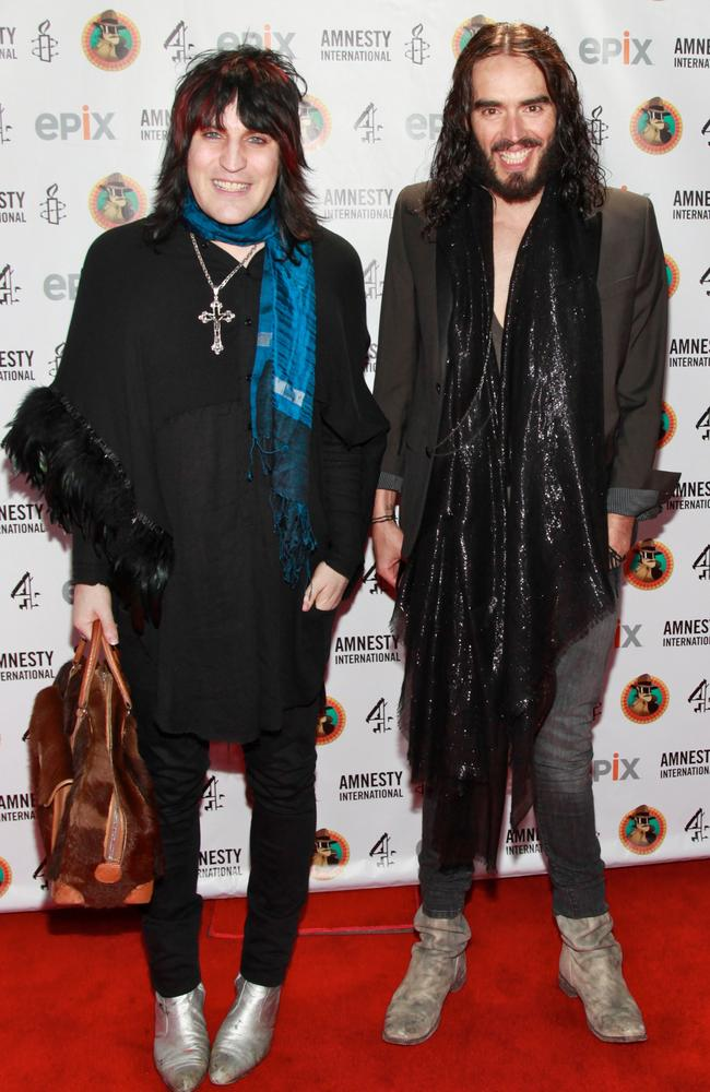 Famous mates ... Noel Fielding and Russell Brand. Picture: Charles Eshelman/FilmMagic
