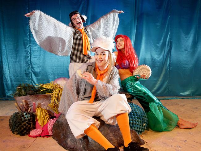 Sophie Delezio (Scuttle's friend), Rhys Evans (Scuttle), & (right) Annelise Hall (Ariel), during rehearsal in Stage Artz production of Disney's The Little Mermaid. Picture: Troy Snook