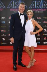 Simon Pryce and Lauren Hannaford arrive on the red carpet for the 31st Annual ARIA Awards 2017 at The Star on November 28, 2017 in Sydney, Australia. Picture: AAP
