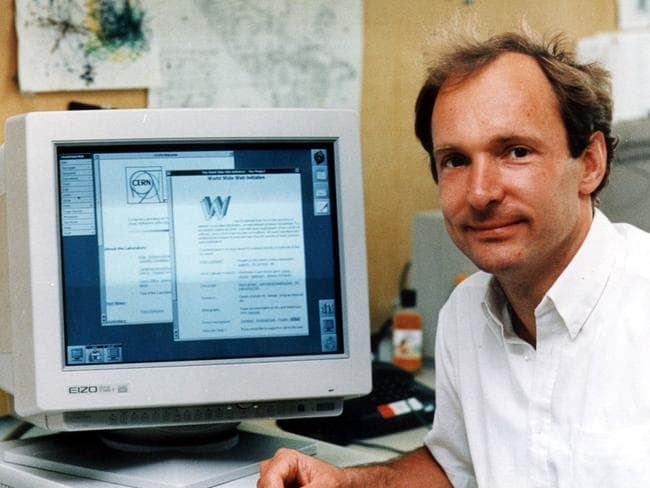 Tim Berners-Lee in his Massachusetts Institute of Technology office, in Cambridge, Massachusetts, with his original web server.