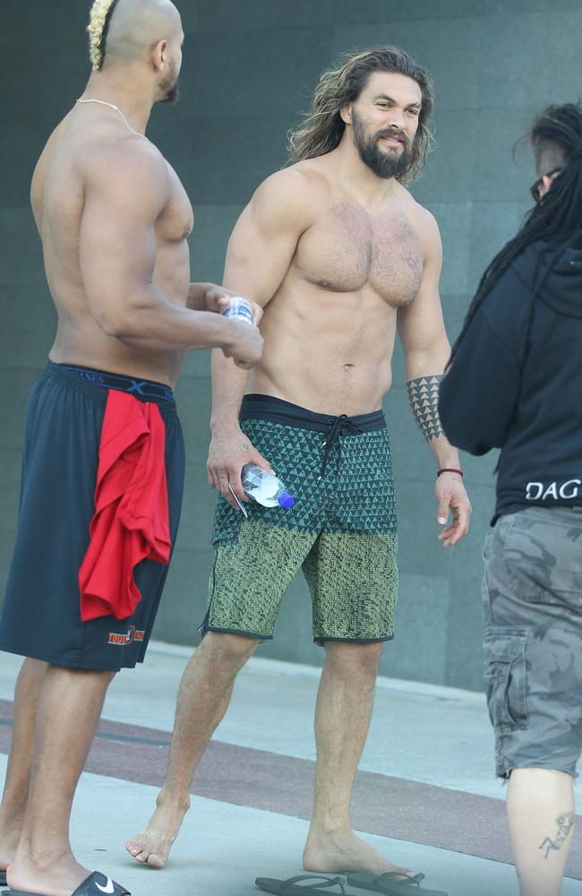 Jason Momoa spotted shirtless on the Gold Coast while in the country to film Aquaman. Picture: TheMegaAgency.com