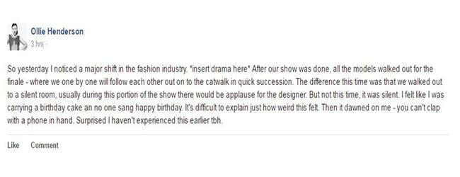 Model Olivia 'Ollie' Henderson's Facebook post earlier this week about her experience at fashion week.