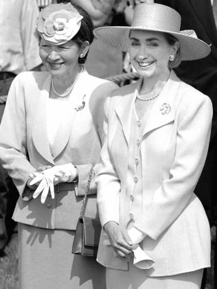 Then United States First Lady Hillary Rodham Clinton and Japan's Empress Michiko during a State arrival ceremony for Japan's Emperor, at the White House in 1994.