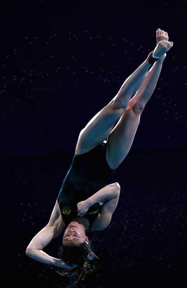 Esther Qin of Australia competes in the women's 3m springboard Final.