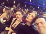 "Sitting pretty: Lucy Hale, Ashley Benson and Ian Harding,"" These babes @itsashbenzo @ianmharding #pcas"" Picture: Lucy Halle/Instagram"