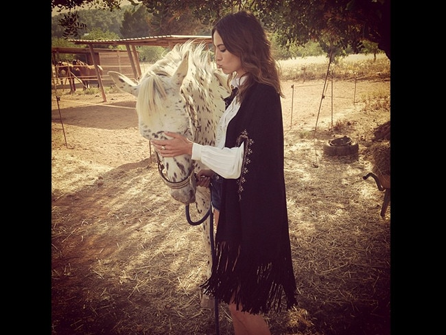 British television personality Alexa Chung does her best horsie impersonation. Picture: Instagram