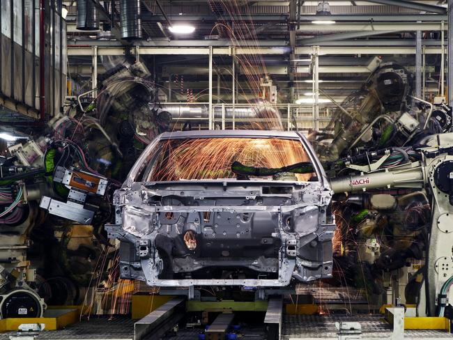 Redundant robots ... Body Shop welding of cars at Toyota Australia's Altona manufacturing plant will end in 2017.