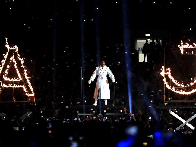 Anthony Joshua makes his entrance. (Photo by Richard Heathcote/Getty Images)