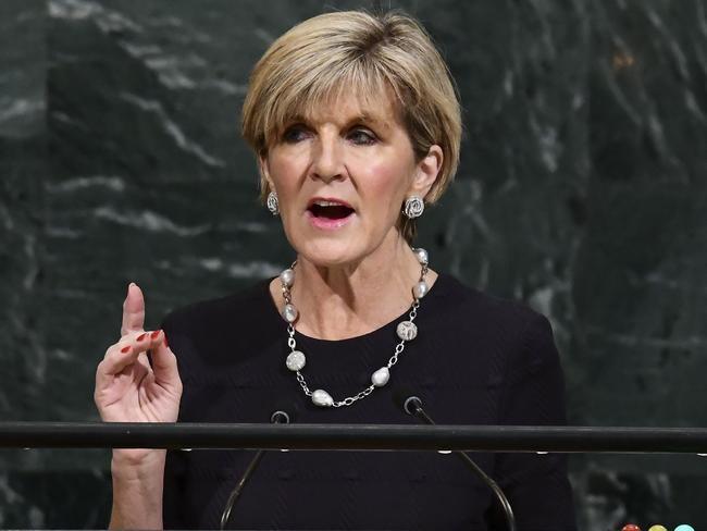 Australia's Foreign Minister Julie Bishop addresses the 72nd Session of the United Nations General Assembly last month. Picture: AFP/Jewel Samad