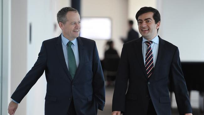 Bill Shorten and Sam Dastyari in happier times. Picture: AAP Image/Dan Himbrechts