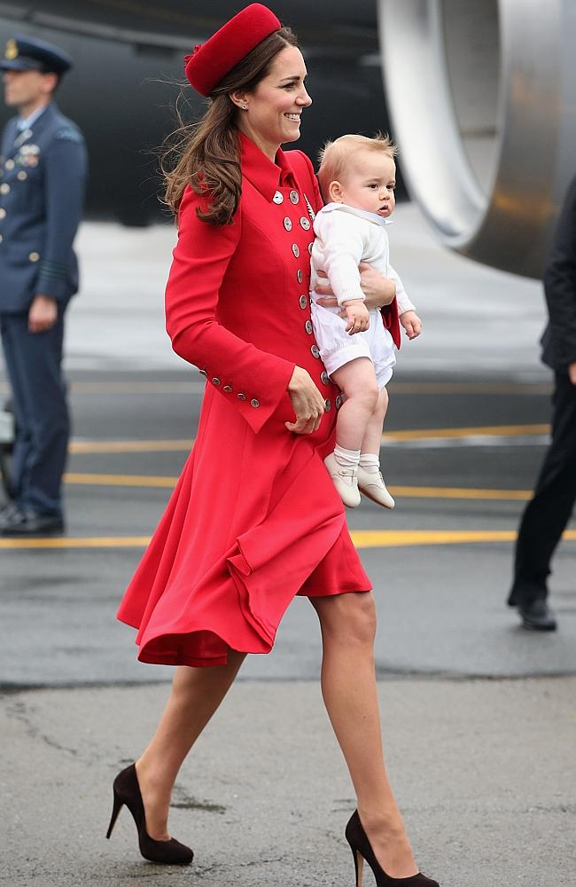 Catherine, Duchess of Cambridge and Prince George of Cambridge arrive at Wellington Military Terminal. Picture: Getty Images