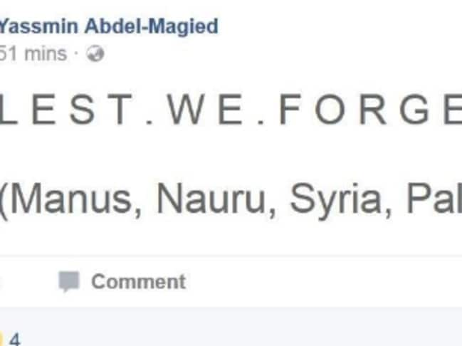 Abdel Magied's controversial Facebook post on Anzac Day she later deleted.