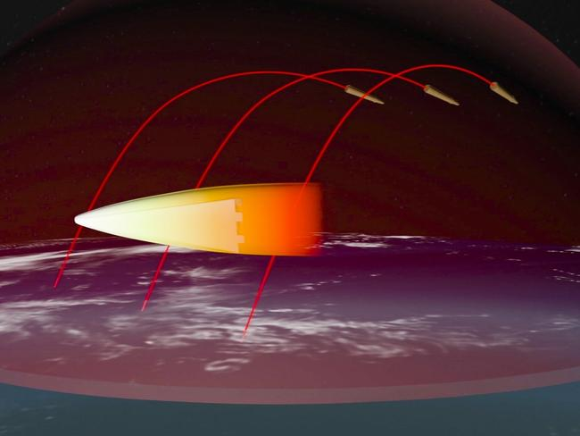 A computer simulation shows the Avangard hypersonic vehicle maneuvering to bypass missile defenses en route to target. Pic: RU-RTR Russian Television via AP