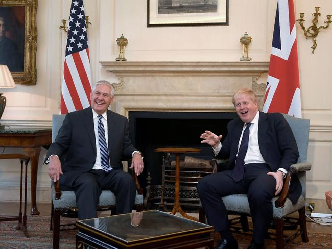 US Secretary of State Rex Tillerson meets with Britain's Foreign Secretary Boris Johnson at Downing Street. Picture: AFP/Toby Melville