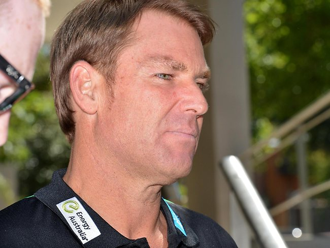 Shane Warne arrives at Cricket Australia headquarters for a disciplinary hearing. Picture: Jay Town