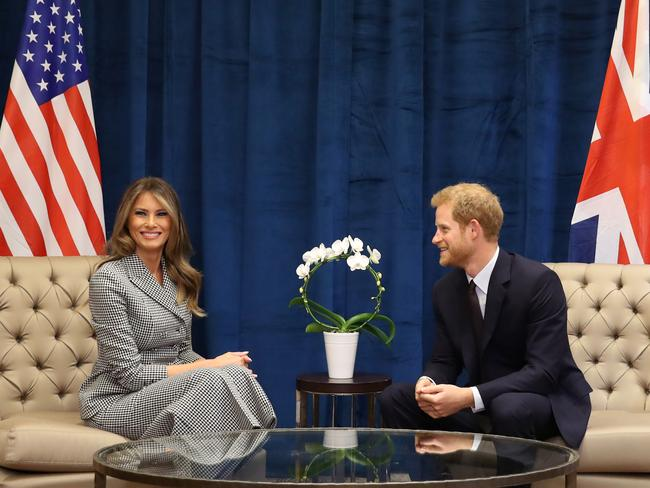 Melania Trump seems to enjoy her time with Prince Harry. Picture: Getty