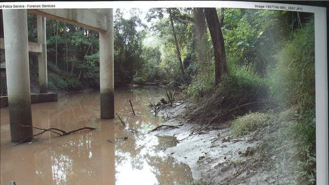 A police evidence photo of the Kholo Creek Bridge area at Anstead, where the body of Allison Baden-Clay was found / Picture: Supplied