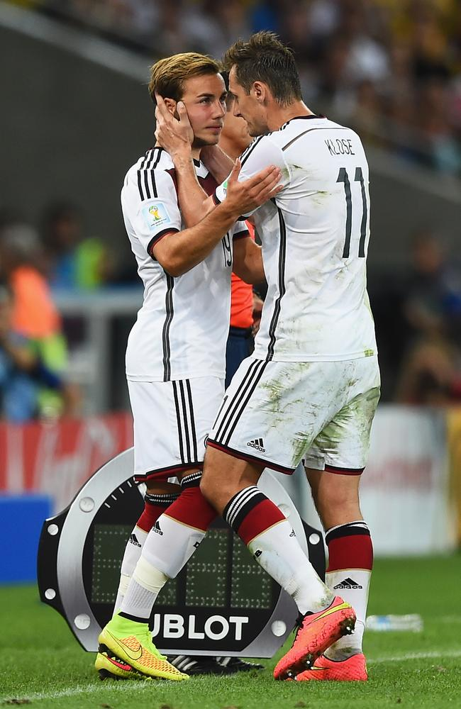Mario Goetze came on as a substitute for Miroslav Klose in the second half.