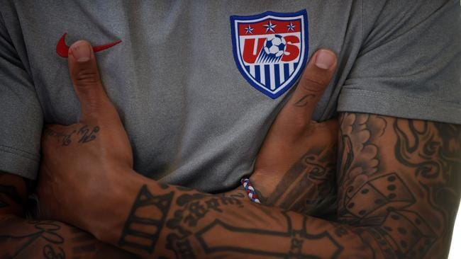 US midfielder Jermaine Jones and a taste of his extensive body art.