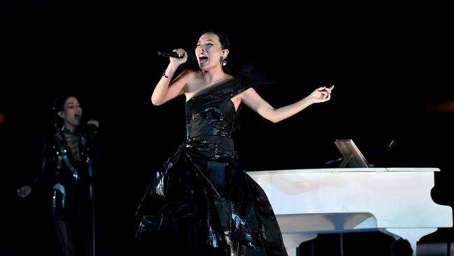 Dami Im performs on stage during the closing ceremony of the Commonwealth Games on the Gold Coast. Picture: Darren England