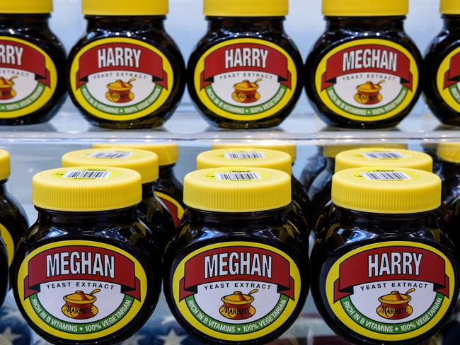 """Jars of Marmite, labelled with the names """"Meghan"""" and """"Harry"""" are seen on a shop shelf. Picture: Leon Neal/Getty Images"""