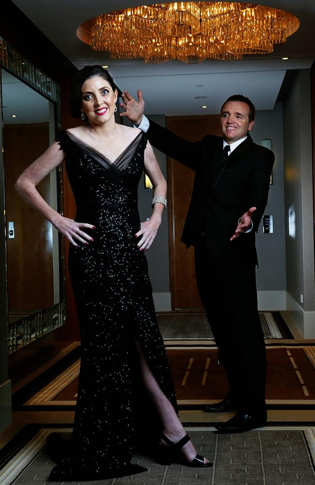 Nicole Gillespie was a special guest at the 2014 TV Logie Awards and wore a $10,000 Steven Khalil dress. She is pictured here with fellow cancer patient Jay Allen.