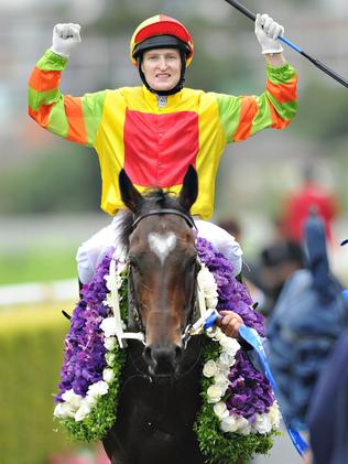 Craig Newitt after winning the TJ Smith Stakes on Lankan Rupee. Picture: Getty Images