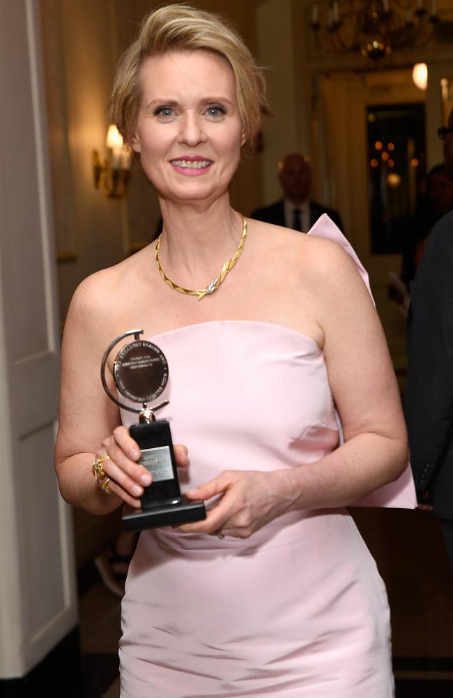 Cynthia Nixon, winner of the award for Best Performance by an actor in a featured role in a play for The Little Foxes backstage during the 2017 Tony Awards. Picture: Getty