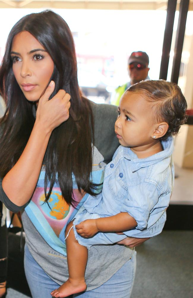Kim Kardashian and North West.