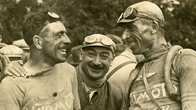 Belgian rider Lucien Buysse, left, with Italian Automoto team-mate Ottavio Bottecchia, right, in 1924. From Tour de France by Francoise and Serge Laget, Philippe Cazaban and Gilles Montgermont, published by Quercus, RRP $39.99.